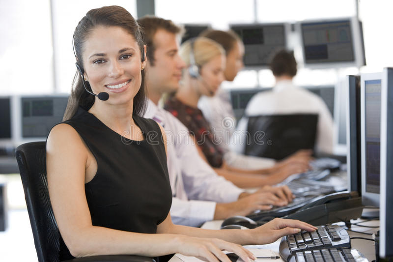 Stock Traders Working At Computers. During day royalty free stock images