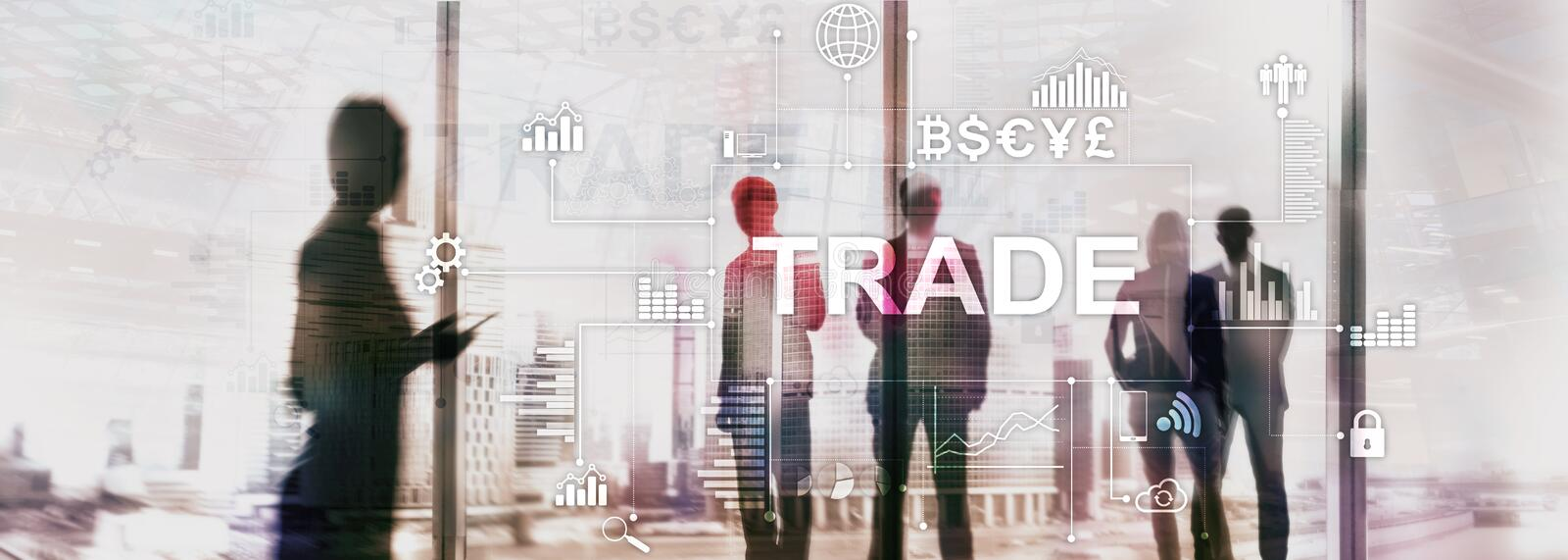 Stock trading candlestick chart and diagrams on blurred office center background.  stock images