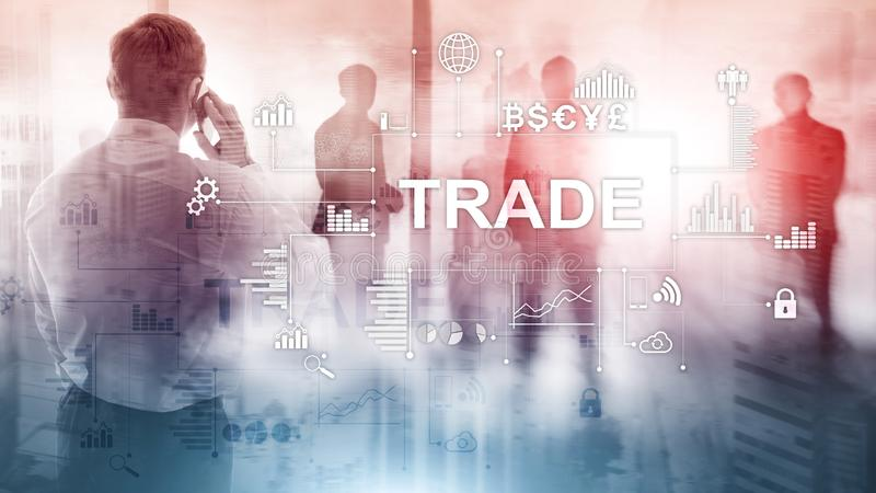 Stock trading candlestick chart and diagrams on blurred office center background. Stock trading candlestick chart and diagrams on blurred office center stock image