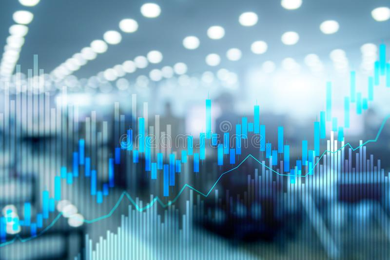 Stock trading candlestick chart and diagrams on blurred office center background. People in jackets on the background of the city royalty free stock photo
