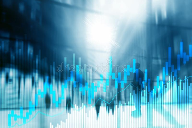 Stock trading candlestick chart and diagrams on blurred office center background.  royalty free stock photos