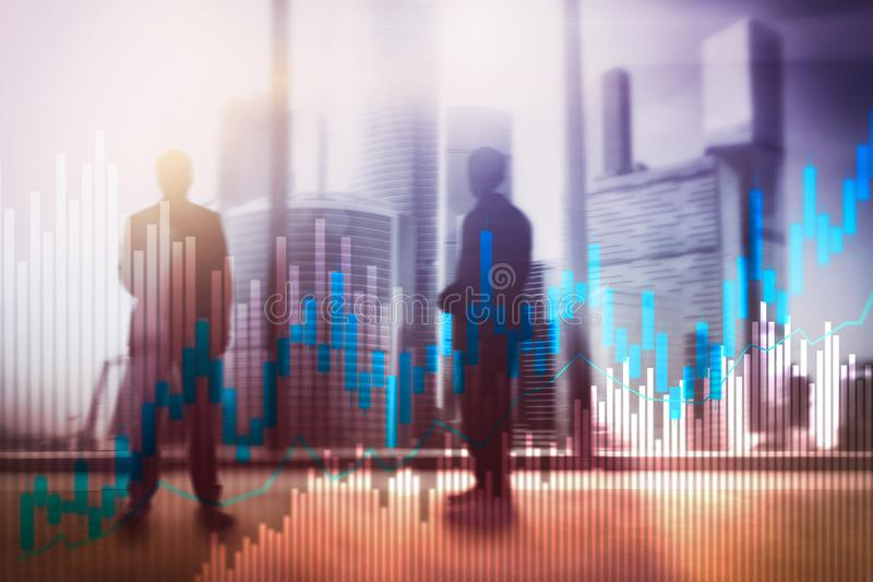 Stock trading candlestick chart and diagrams on blurred office center background.  royalty free illustration