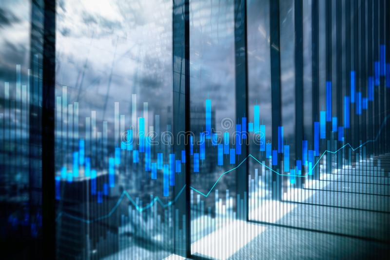 Stock trading candlestick chart and diagrams on blurred office center background.  stock image
