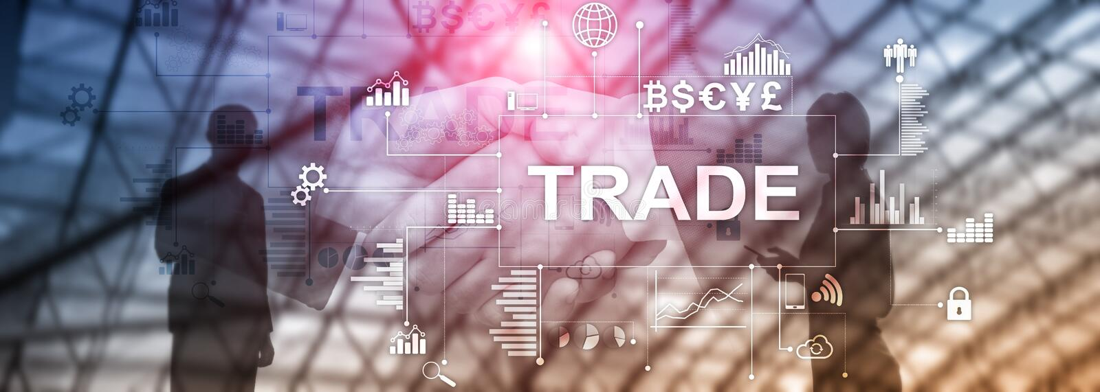 Stock trading candlestick chart and diagrams on blurred office center background.  stock photo