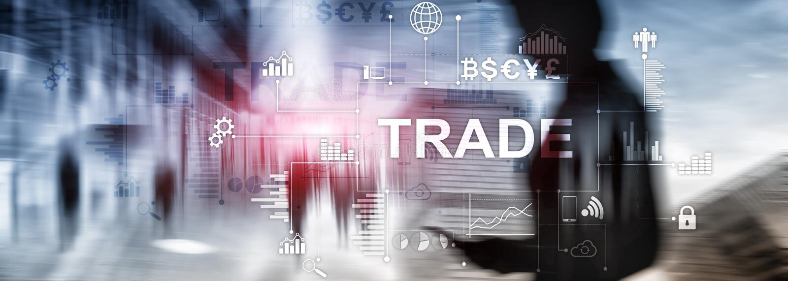 Stock trading candlestick chart and diagrams on blurred office center background.  royalty free stock photography