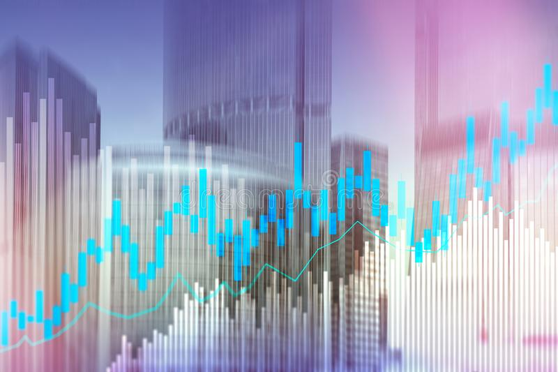 Stock trading candlestick chart and diagrams on blurred office center background. Stock trading candlestick chart and diagrams on blurred office center royalty free stock photography