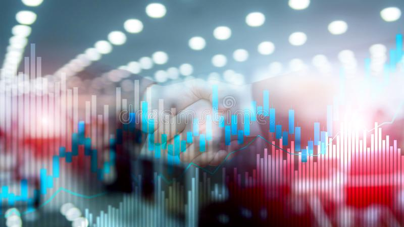 Stock trading candlestick chart and diagrams on blurred office center background. Stock trading candlestick chart and diagrams on blurred office center royalty free stock photos