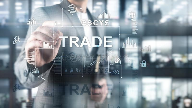 Stock trading candlestick chart and diagrams on blurred office center background. Stock trading candlestick chart and diagrams on blurred office center royalty free stock image
