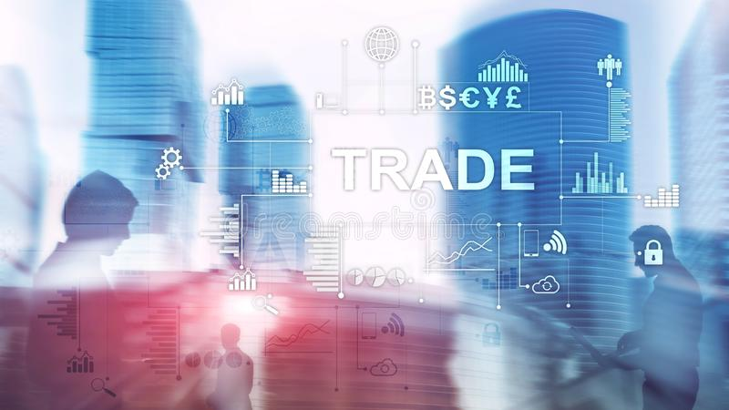 Stock trading candlestick chart and diagrams on blurred office center backgroun royalty free stock image