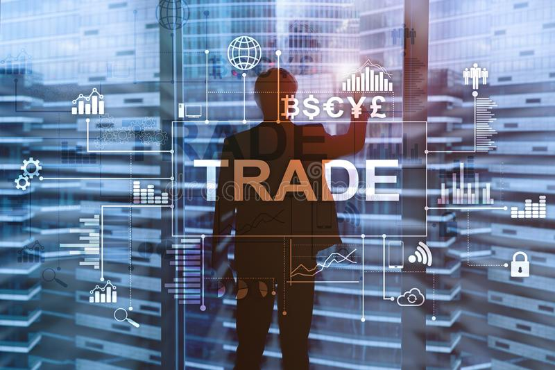 Stock trading candlestick chart and diagrams on blurred office center background. Stock trading candlestick chart and diagrams on blurred officeStock trading stock photos