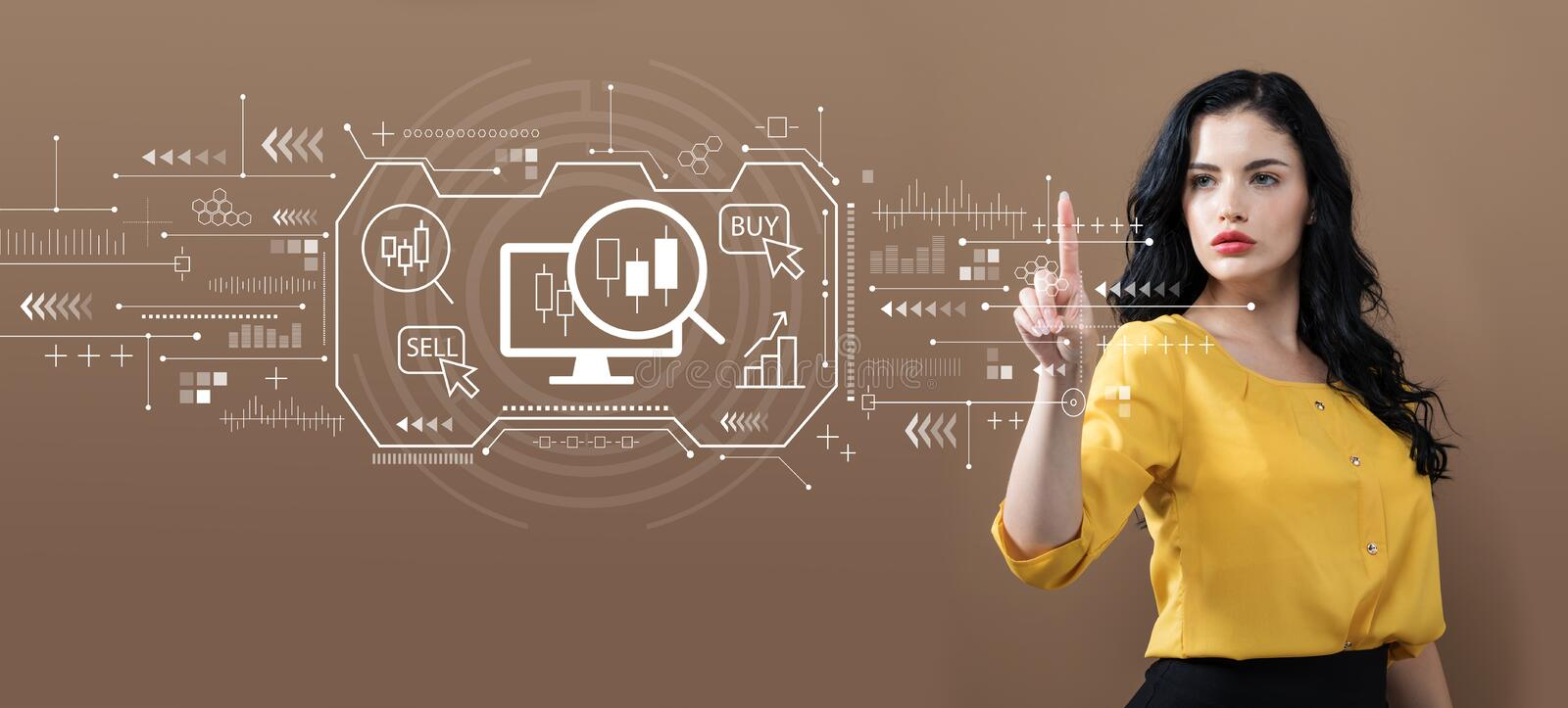 Stock trading concept with business woman stock photography