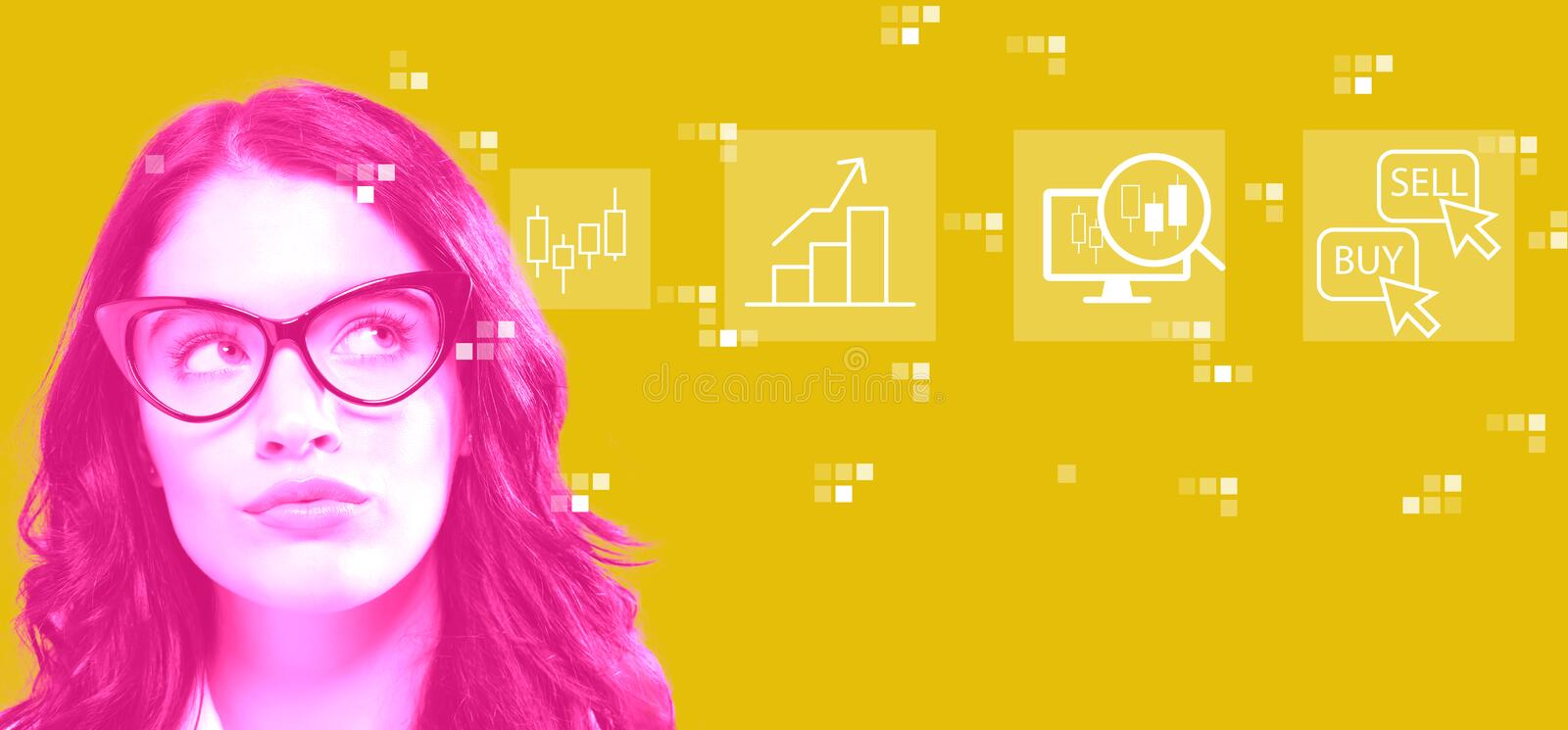 Stock trading concept with young businesswoman. In a thoughtful face royalty free stock image