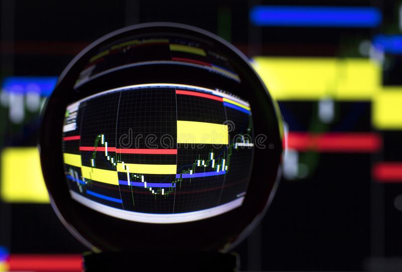Stock trading and crystal ball. Crystal ball on the background of the stock exchange stock image