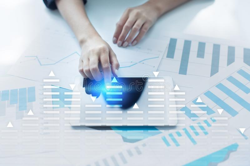 Stock trading, data analysis diagram, chart, graph on virtual screen. Business and technology concept. Stock trading, data analysis diagram, chart, graph on royalty free stock photo
