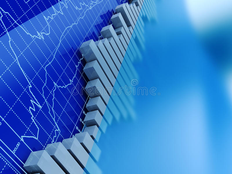 Stock trading graphs. Abstract 3d illustration of stock trading graphs background, blue colors