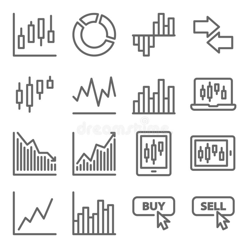 Free Stock Trading Icon Set Vector Illustration. Contains Such Icon As Online Trading, Buy, Sell, Portfolio, Candle, Pie Chart And More Stock Image - 179664881