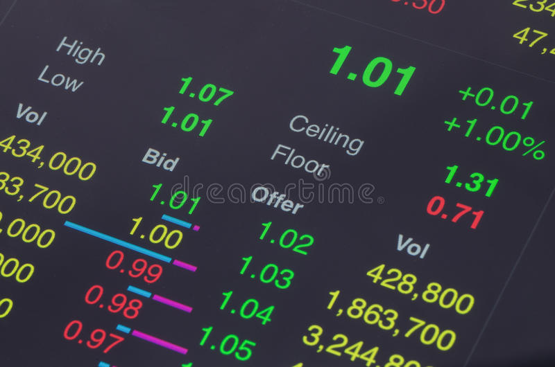 Stock trading information. On the tablet royalty free stock images