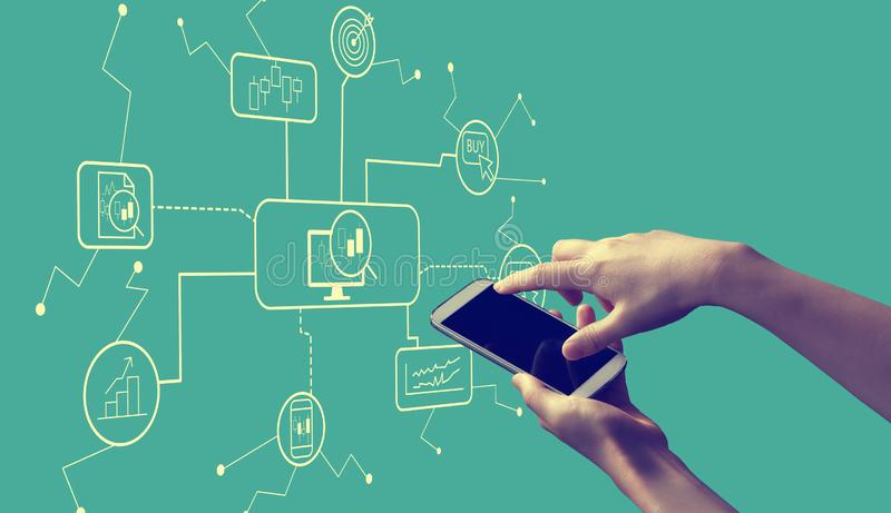 Stock trading theme with person holding smartphone. Stock trading theme with person holding a white smartphone stock illustration