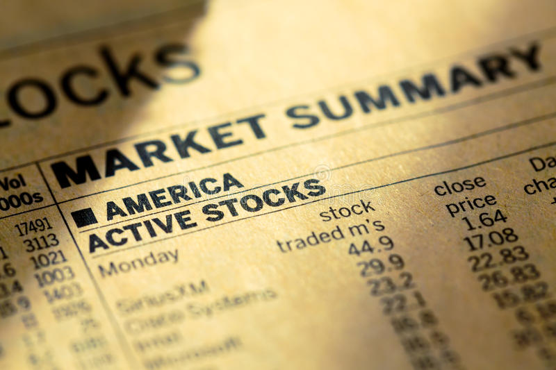 Stock usa market in the newspaper royalty free stock photography