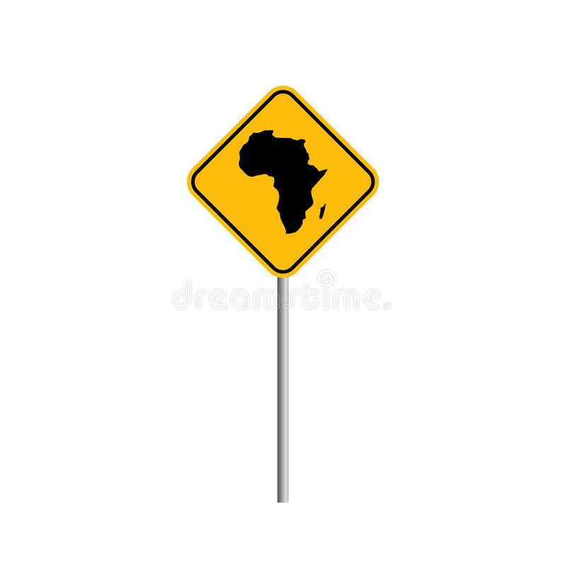 Stock vector AFRICA map icon Vector illustration with road sign. Style 7 vector illustration