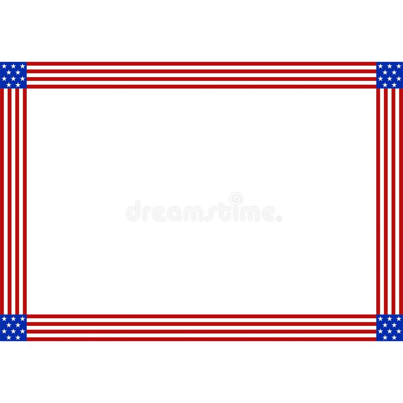 Stock vector american flag patriotic border with copy space for stock illustration