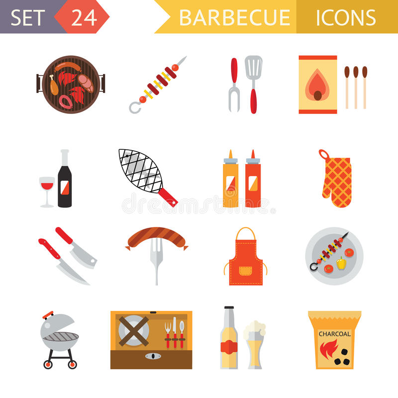 Stock vector barbecue restaurant party family dinner summer picnic food symbols icon flat design template illustration. Stock vector barbecue restaurant party vector illustration