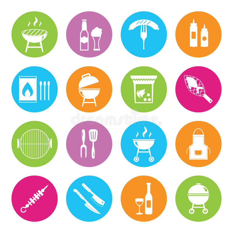 Stock vector barbecue restaurant party family dinner summer picnic food symbols icon flat design template illustration. Stock vector barbecue restaurant party stock illustration