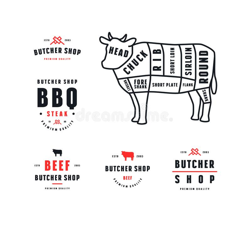 Stock Vector Beef Cuts Diagram And Label For Butcher Shop Stock