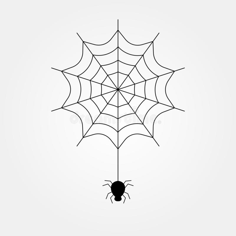Stock vector black spider on the spider web icon helloween 2 stock illustration