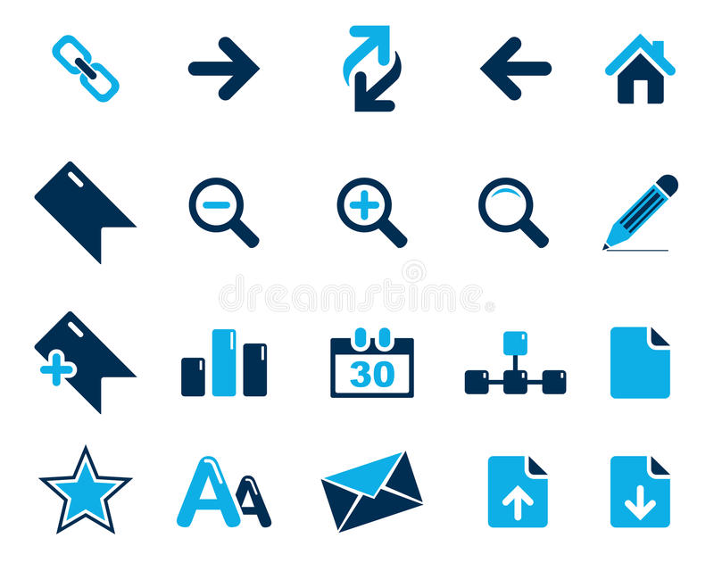 Stock Vector blue web and office icons in high resolution. Scaled at any size and used for SEO, web page, blog, mobile apps, documents, graphic & printing stock illustration