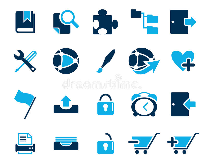 Stock Vector blue web and office icons in high resolution. vector illustration