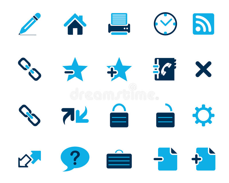 Stock Vector blue web and office icons in high resolution. royalty free illustration