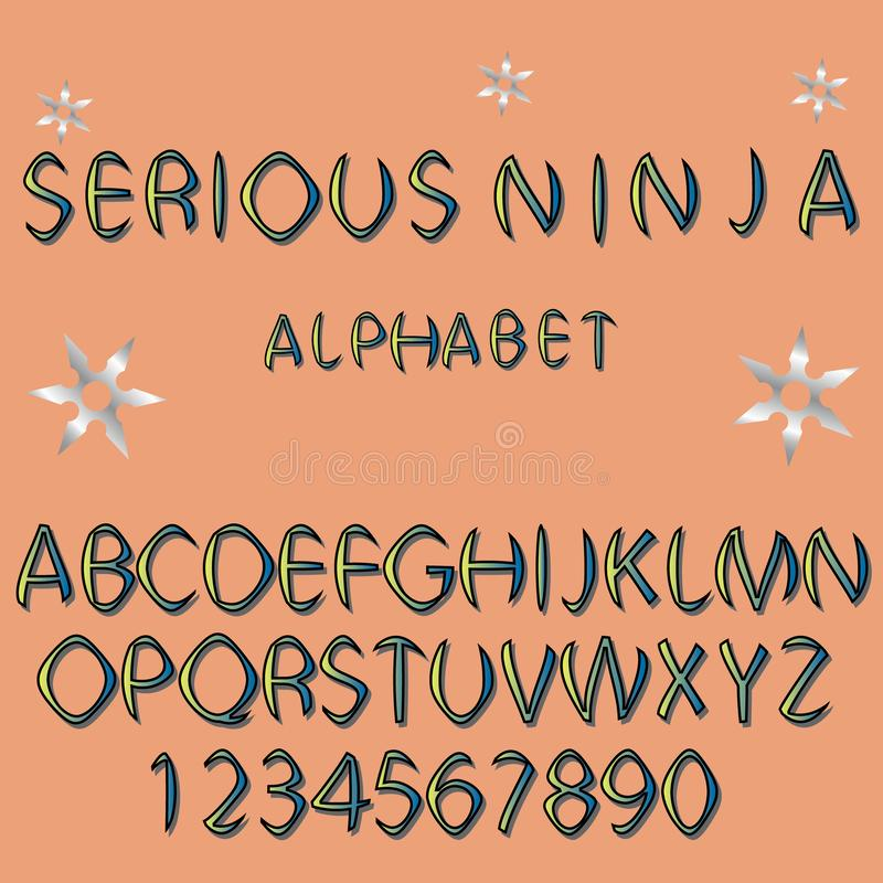 Stock colored alphabet, typeface. Letters and numbers for sport, movie emblem and logo design in oriental style stock illustration