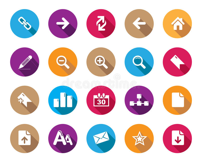 Stock Vector colourful rounded web and office icons with shadow in high resolution. Stock Vector web and office icons in high resolution. Scaled at any size and vector illustration