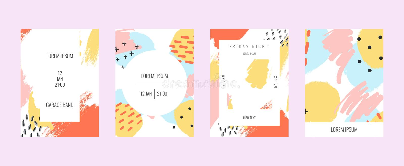 Stock vector creative cards with abstract geometric backgrounds. Poster template. Vector royalty free illustration
