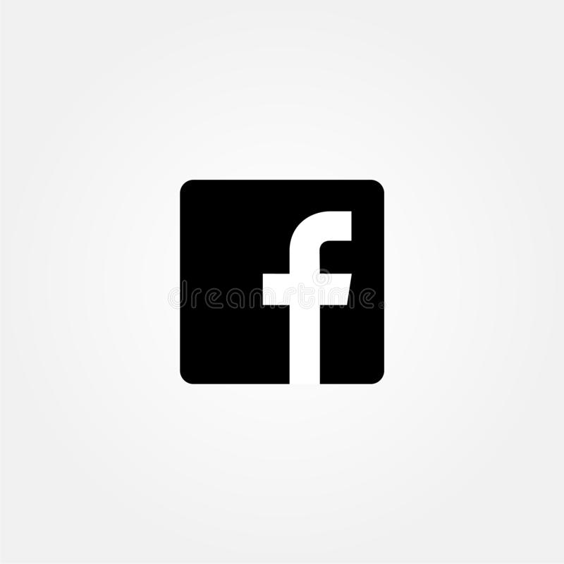 Stock vector facebook icon with black color flat stock illustration