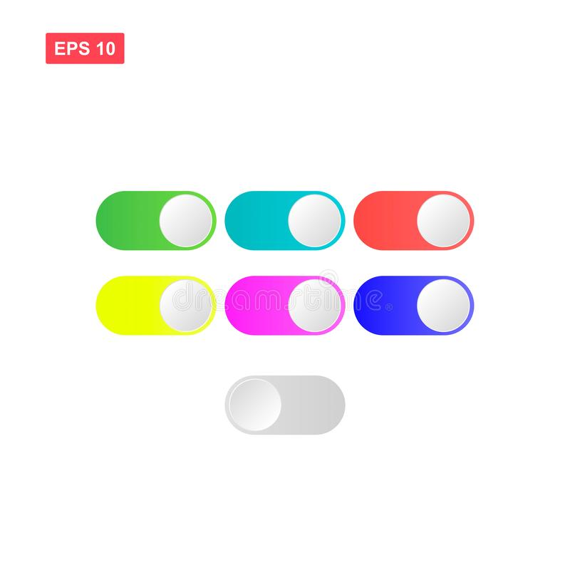 Stock vector flat toggle on and off switch button in seven color. Eps10 royalty free illustration