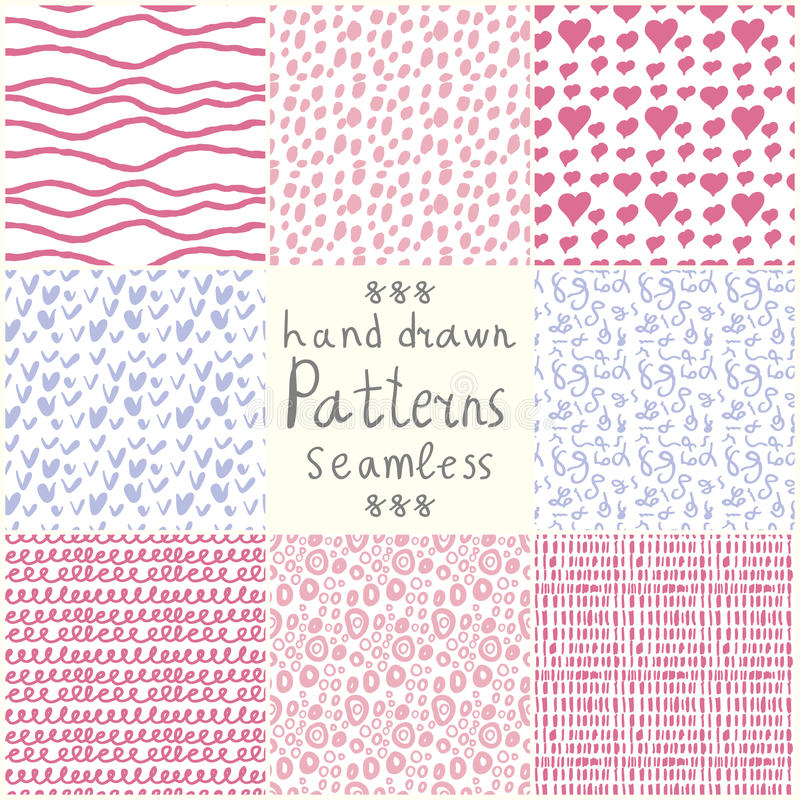 Stock Vector hand drawn seamless patterns royalty free illustration