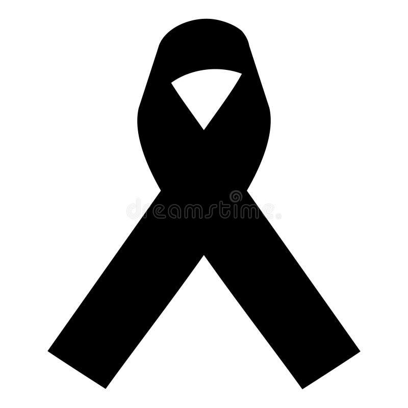 Stock vector illustration black awareness ribbon on transparent background. Mourning and melanoma symbol. Terrorism. Mourning ribbon, death royalty free illustration