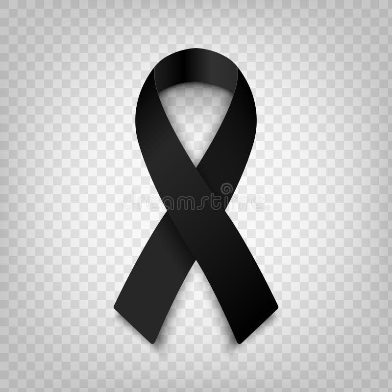 Stock vector illustration black awareness ribbon on transparent background. Mourning and melanoma symbol. Terrorism. Mourning royalty free illustration