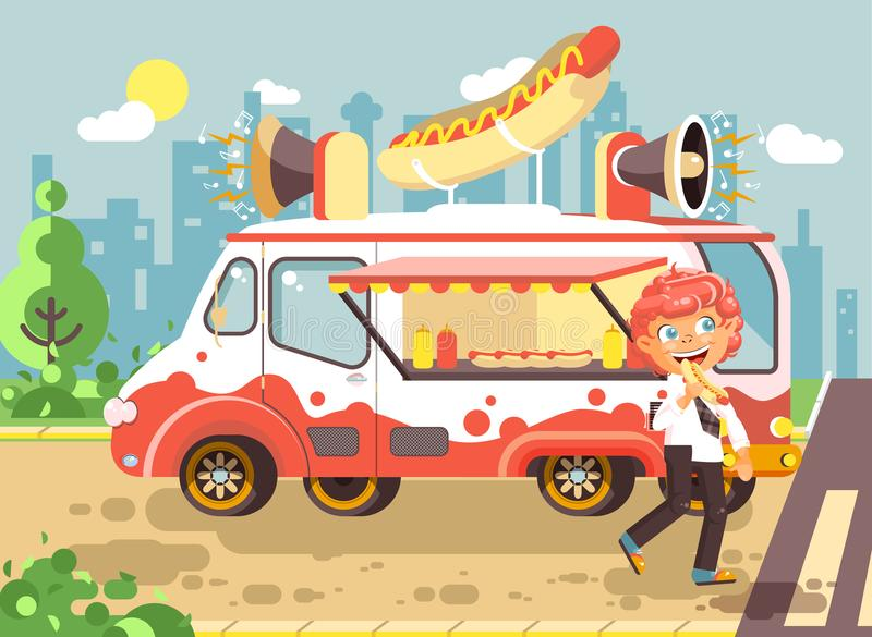 Vector illustration cartoon character child, pupil, lonely redhead boy schoolboy eat fast food, sandwiches, hot dog. Stock vector illustration cartoon character royalty free illustration