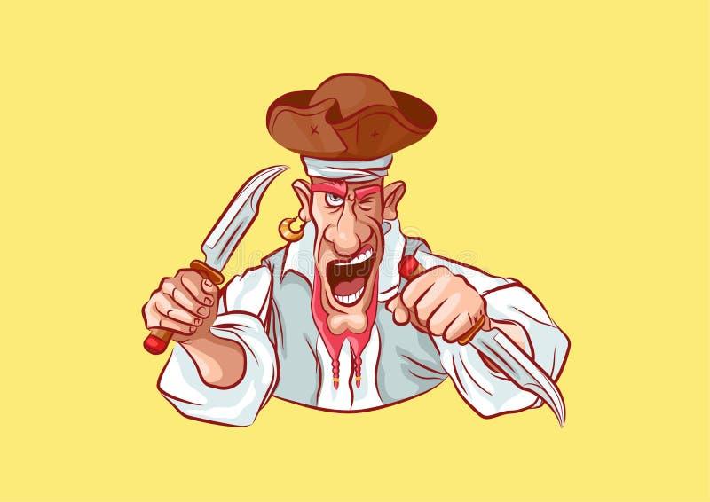 Emoji sticker captain aggressive attack knives stock illustration
