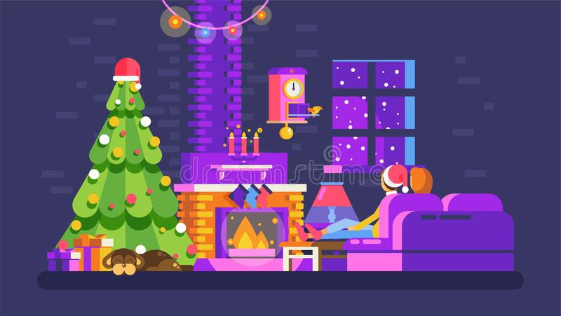 Christmas evening home interior, lovers sit on couch in front of fireplace in New Year Eve royalty free illustration