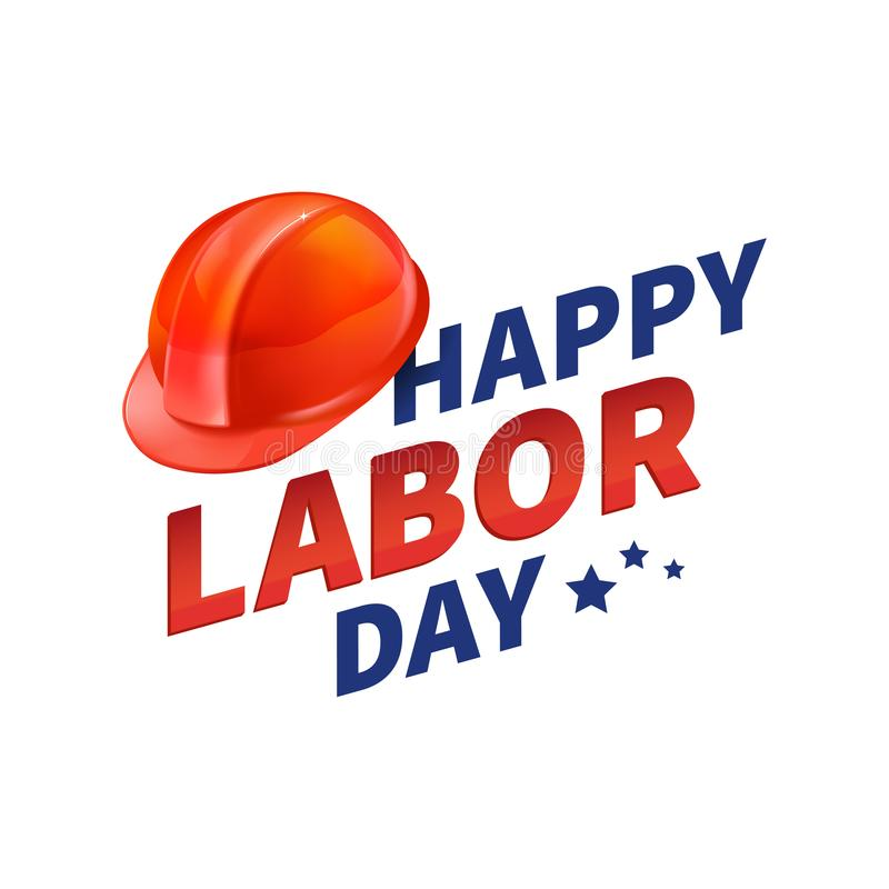 Stock vector illustration Happy Labor Day text banner, american patriotic square isolated on white background. USA National vector illustration