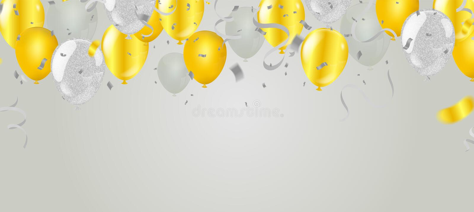 Stock vector illustration party flying Golden and various colors realistic balloons. Defocused macro effect. Templates for stock illustration