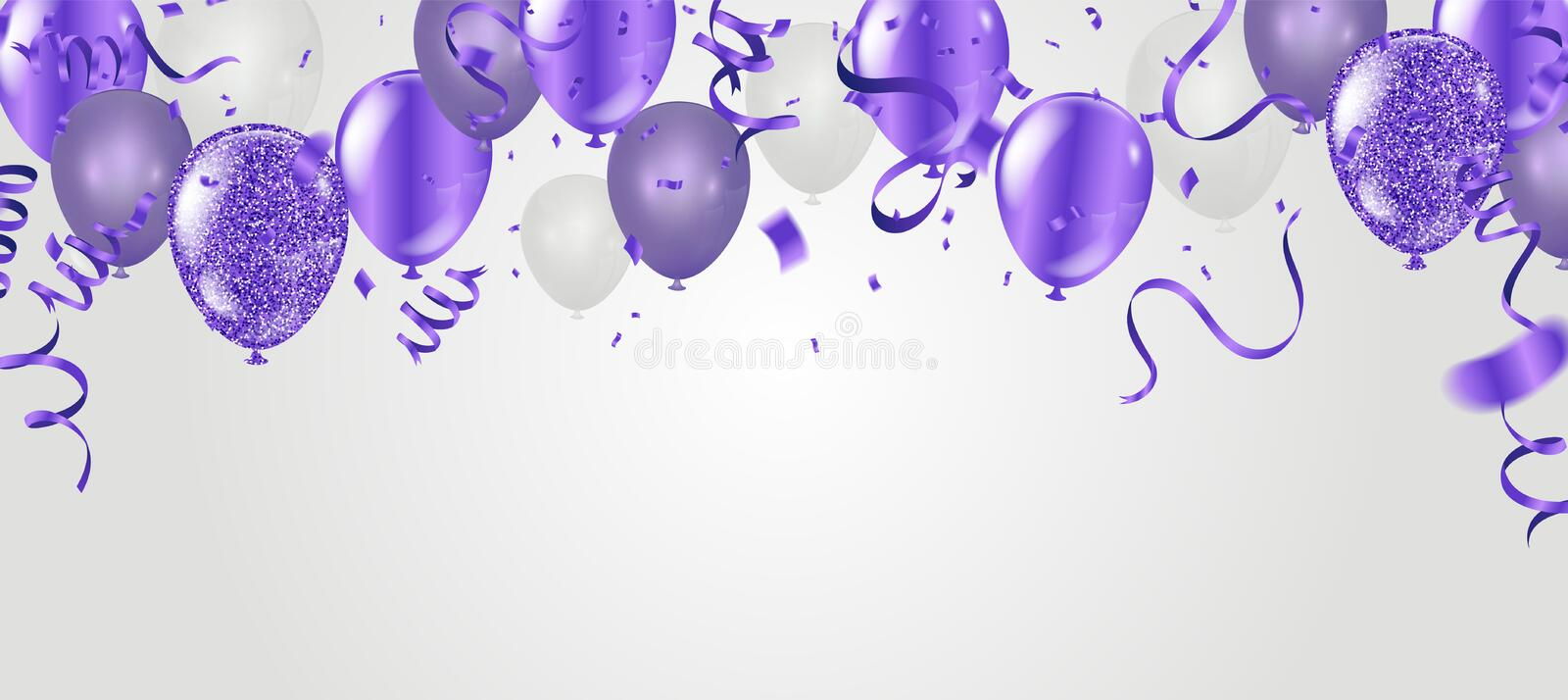 Stock vector illustration party flying purple realistic balloons stock illustration