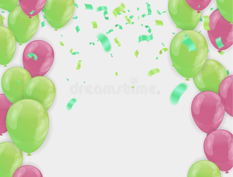 Stock vector illustration party flying purple and various colors realistic balloons. Defocused macro effect. Templates for. Placards, banners. New Year Funky stock illustration