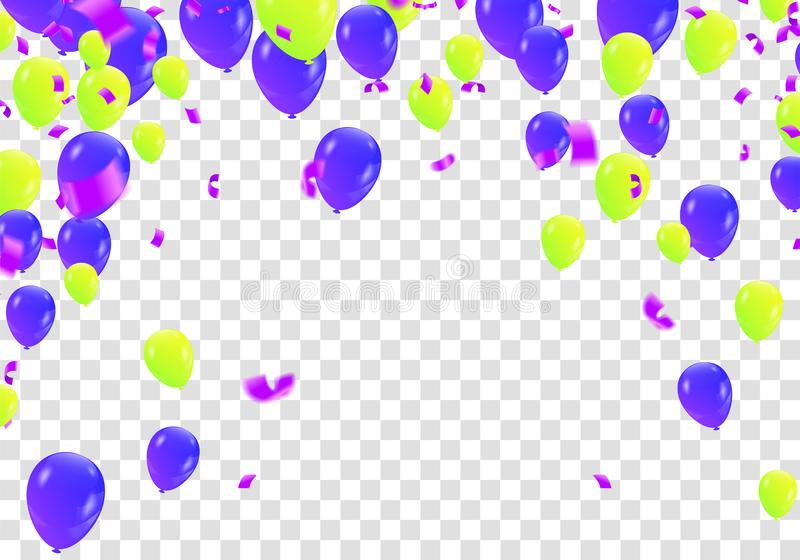 Stock vector illustration party flying purple and various colors realistic balloons. Defocused macro effect. Templates for royalty free illustration