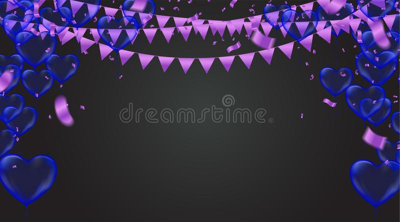 Stock vector illustration party flying purple and various colors realistic balloons. Defocused macro effect. Templates for. Placards, banners. New Year Funky vector illustration