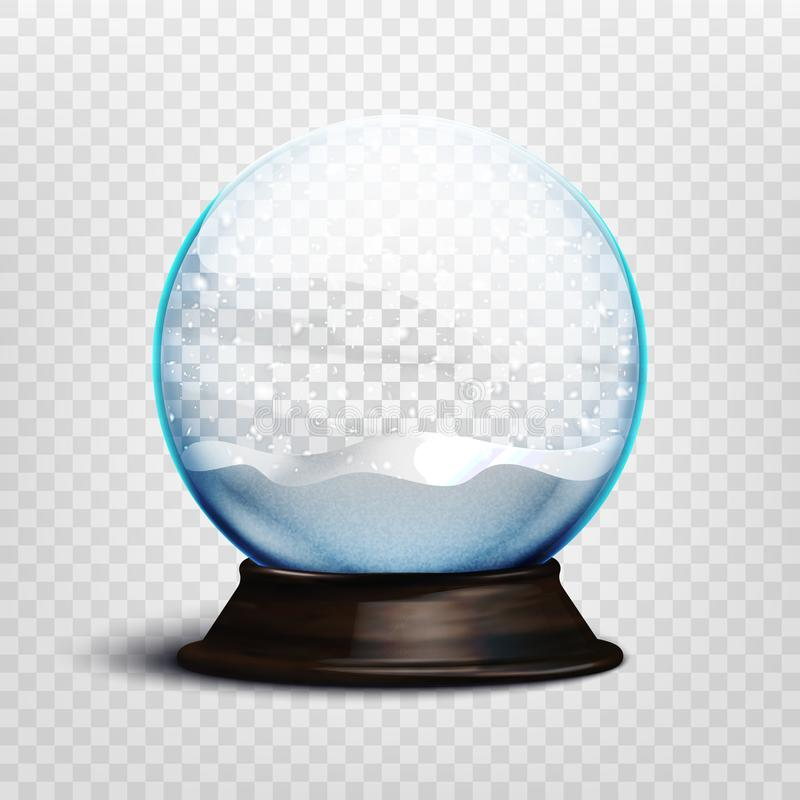 Stock vector illustration realistic empty christmas snow globe isolated on a transparent background. EPS 10 stock illustration